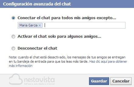 Configuración del chat de Facebook