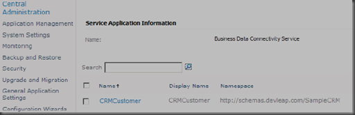 SharePoint Central Administration page for managing Business Data Connectivity Services
