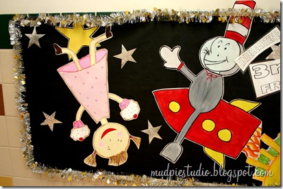 Space and Reading Themed Bulletin Board with characters from children's books!