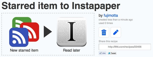 Ifttt  Starred item to Instapaper