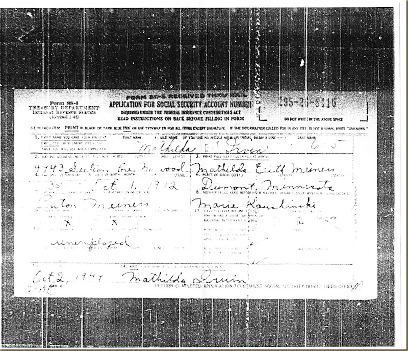 Mathilda Edith Meiners Social Security Card Application