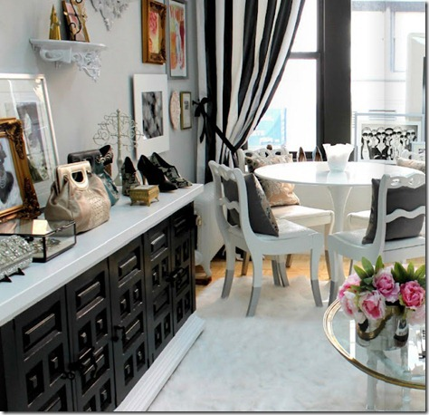 Kardashian Room Interior Design and Romance modern-chic-office-living-room-black-white-credenza