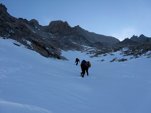 About midway up the Trough. Great conditions for crampons.