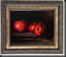 Three red apples framed 6x8