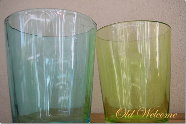 handblown glass cylinders green and blue