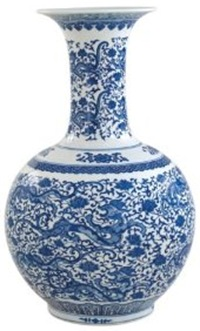 tall blue and white dragon vase