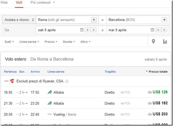 Google Voli (Google Flight) Ricerca voli