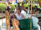 Merry-go-round with mommy at Dutch Wonderland. (August)