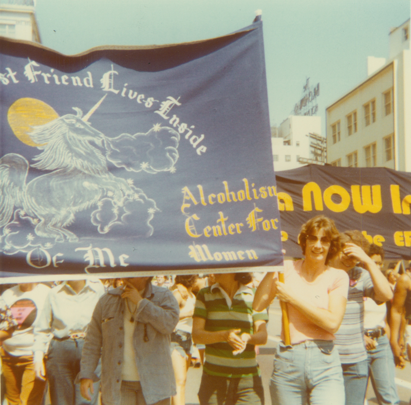Alcoholism Center for Women marching in the Los Angeles Christopher Street West pride parade. 1977