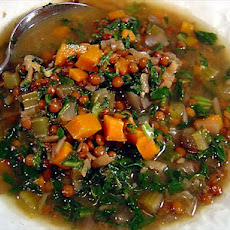 Mediterranean Lentil Soup with Spinach