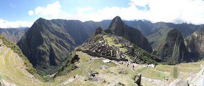 "Machu Picchu, 28 photo panorama taken from up near the ""caretaker's hut""."