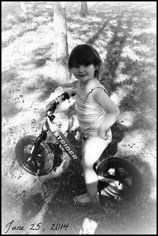 bday girl on bike bw