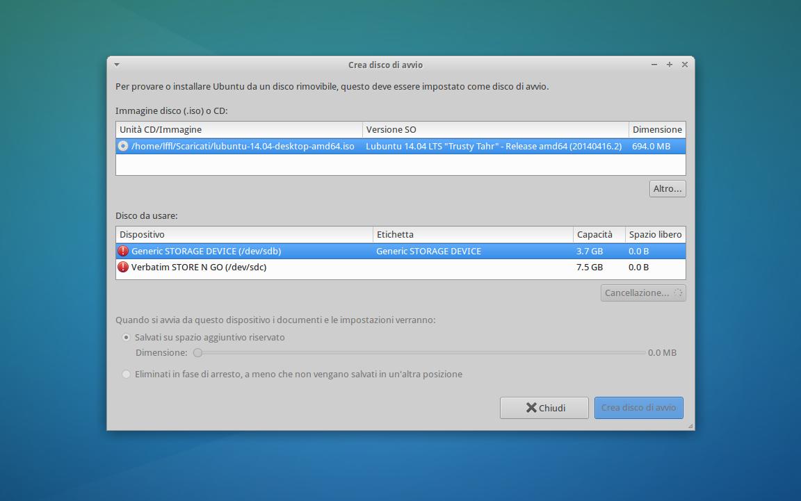 Startup Disk Creator in Xubuntu