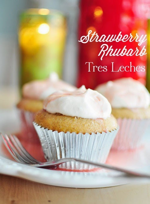 Strawberry Rhubarb Tres Leches Cupcakes Recipe #SummerOutshine #shop