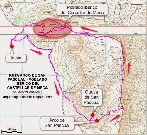 MAPA RUTA RINCÓN DE SAN PASCUAL - CASTELLAR DE MECA