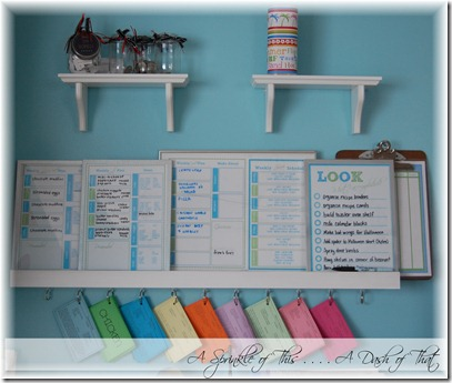 Message center above kitchen desk after {A Sprinkle of This . . . . A Dash of That}