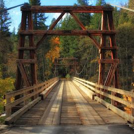 Buker Bridge by Lori Quillen - Buildings & Architecture Bridges & Suspended Structures ( klamath, california, fall, bridge, path, nature, landscape )