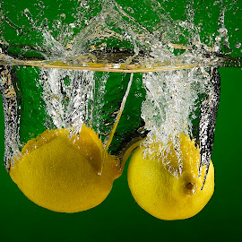 Lemon Drops by Troy Wheatley - Food & Drink Fruits & Vegetables ( water, fruit, lemons, splash, wet )