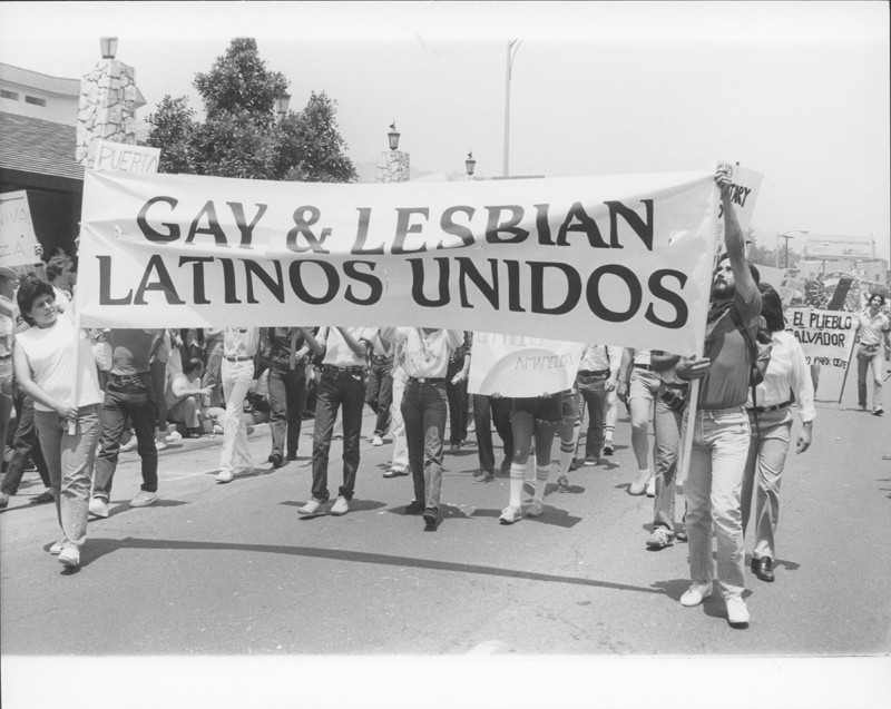 Gay and Lesbian Latinos Unidos march at the Los Angeles Christopher Street West pride parade. June 1982.