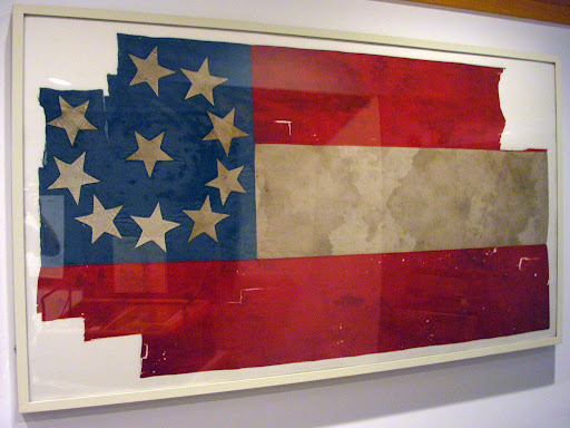 A Confederate First National flag used at the Battle of Wilson's Creek, August 10, 1861. It's now on display at the Wilson's Creek national battlefield visitor Center. (Photo credit: Jeremy Shreckhise)