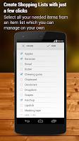 Screenshot of Shopping List