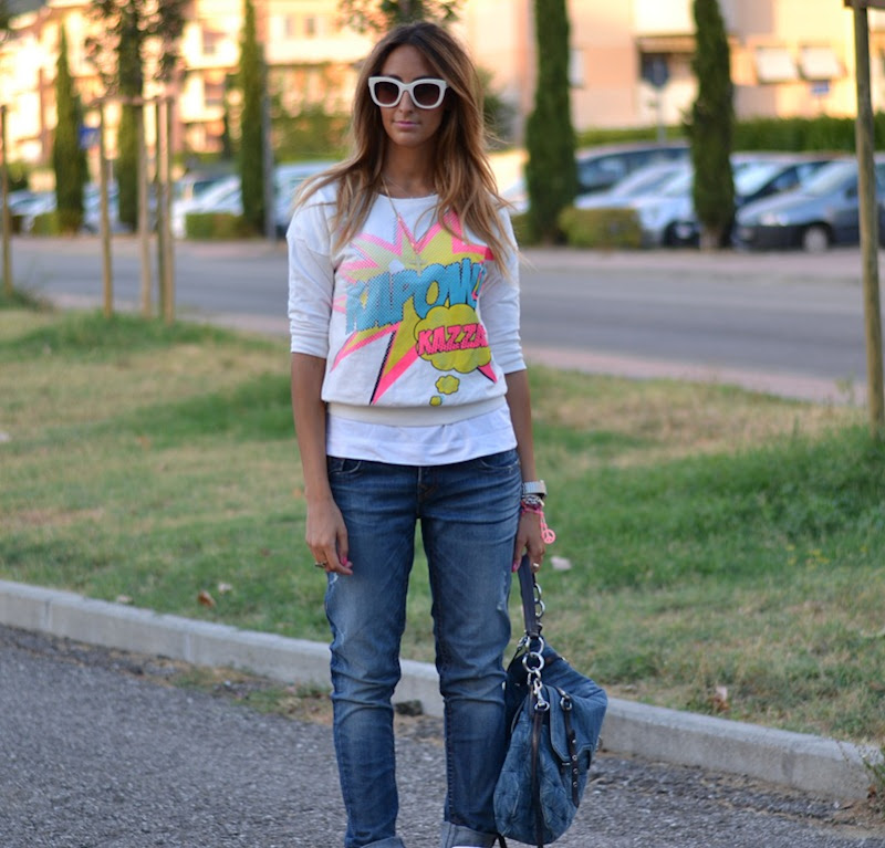 Primark, True Religion, Boyfriend Jeans, Zara, Zara Sunglasses, Sneakers with Wedge
