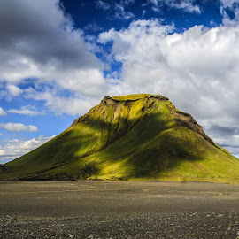 Alone by Jorge Igual - Landscapes Mountains & Hills ( clouds, iceland, sky, volcano, landscape, rocks, path, nature )