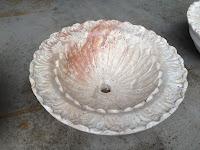Floral Carved Round Vessel Sink Light Oriental Travertine Honed/Filled