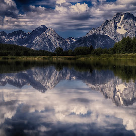 Teton's At the Oxbow by Dewey Farmer - Landscapes Mountains & Hills ( water, clouds, reflection, wyoming, travel, sun, oxbowbend, hiking, mountains, winter, vacation, blue, jackson, sunny, sunset, biking, fall, summer, sunrise, river,  )