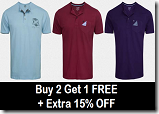 Buy 2 Get 1 FREE On Zovi Henley T-Shirt – Set Of 3 Tees at Rs. 402 + Free Shipping