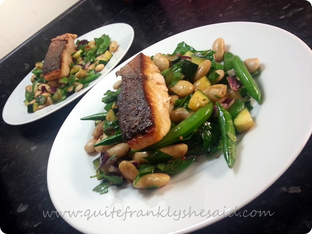 Hello Fresh Seductively Perfect Pan-Fried Salmon with Warm Courgette and Butterbean Salad