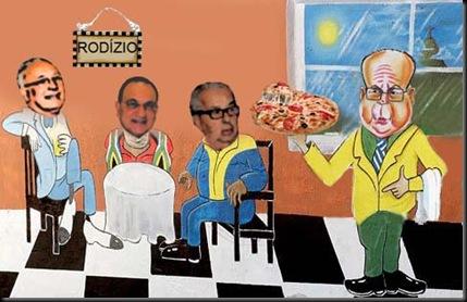 mocaiber oferecendo pizza