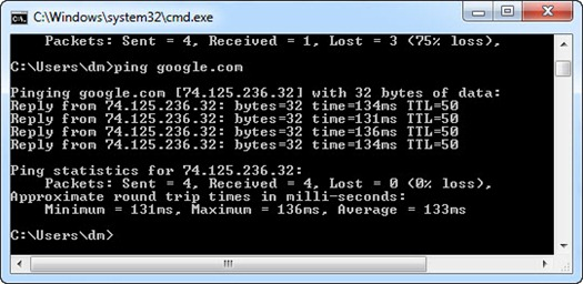 Hasil ping google.com di Command Prompt