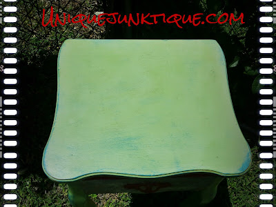 CeCe Caldwell Painted Table With Diamond Plate Topview