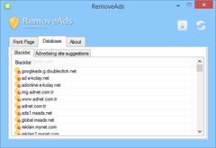 النافذة الثانية وتوضح قائمة بالمواقع التى يقوم البرنامج بغلق الإعلانات منها