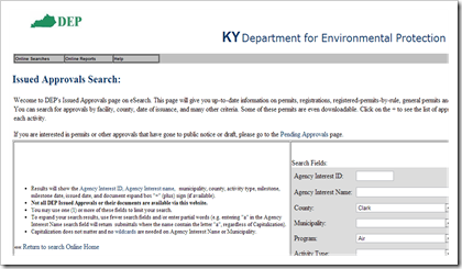 Kentucky Department for Environmental Protection Air Permits
