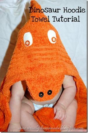 Dinosaur Hoodie Towel Tutorial