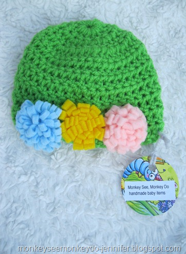 green hat with felt flowers newborn
