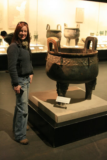 Lynette next to a huge tripod, again made around 3,500 years ago!