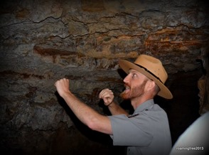 Ranger Adam explaining the structure of the cave