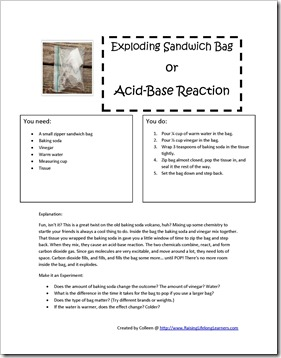 Exploding bag science activity