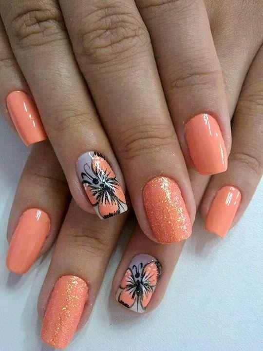 Фото ногтей персиковый цвет