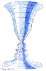 Paharul - Obiect tridimensional corp de rotatie desenat cu pixul si un creion albastru - Prototip de pahar