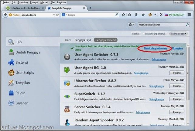 user agent switcher addon install 2