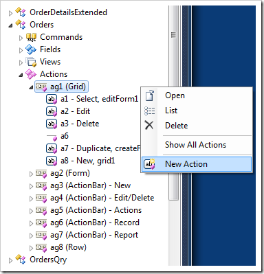 Creating a new action in 'Grid' scope in a Code On Time web application