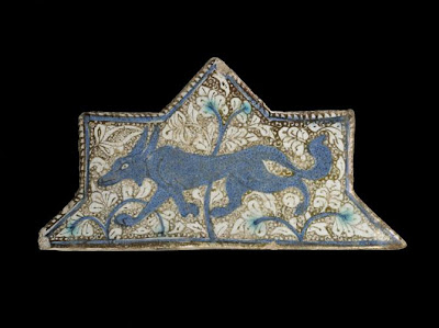 Tile | Origin:  Iran | Period: late 13th-early 14th century  Il-Khanid period | Details:  Not Available | Type: Stone-paste painted under colorless glaze | Size: H: 10.5  W: 20.3  cm | Museum Code: F1973.14 | Photograph and description taken from Freer and the Sackler (Smithsonian) Museums.