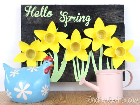Hello spring daffodil sign