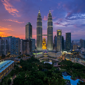 Sunset at KLCC Precinct by Nur Ismail Mohammed - City,  Street & Park  City Parks ( klcc, skyline, sunset, petronas, twin towers, cityscape, city park )