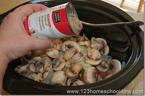 add a can of cream of mushroom condensed soup