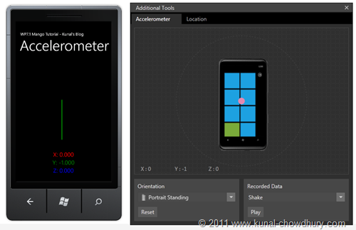 WP7.1 Demo - Expanded Accelerometer Window with Phone Emulator